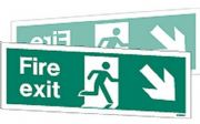 W439DST - DOUBLE-SIDED FIRE EXIT SIGN DOWN TO THE RIGHT OR LEFT wp 120 x 340mm